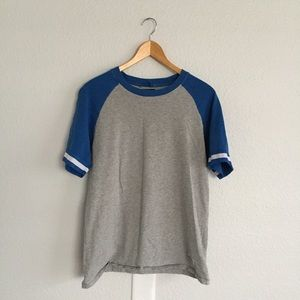 Urban Outfitters Blue & Grey Baseball Tee